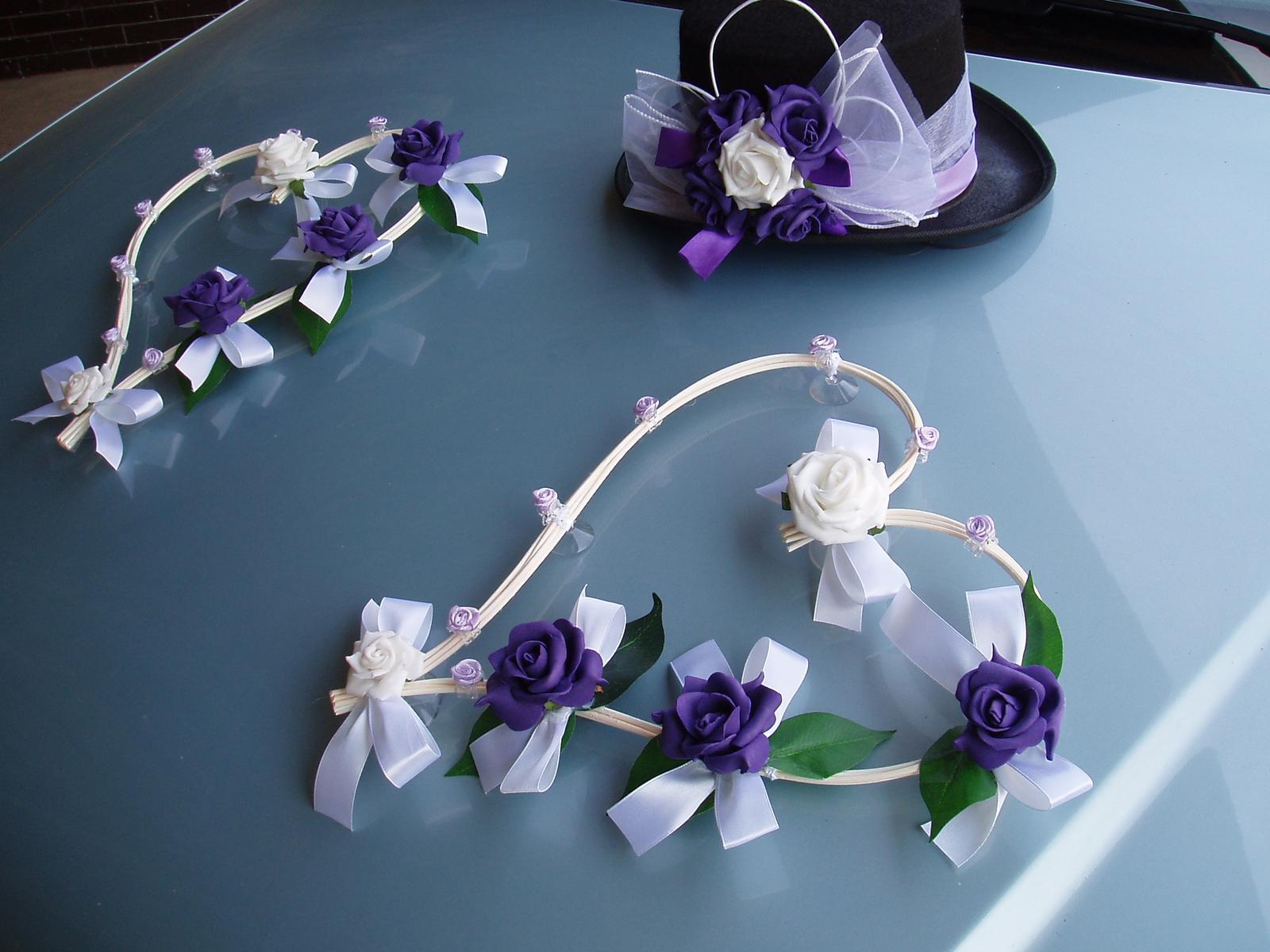 Svatební dekorace - srdce z pedigu,cylindr-fialová