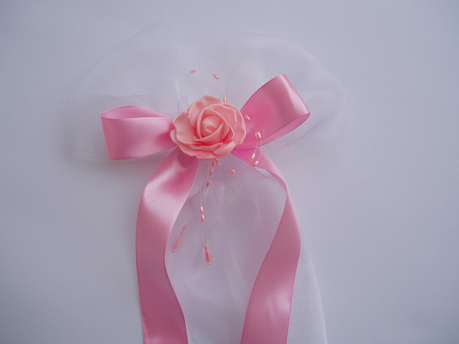 Svatební dekorace - mašle na zrcátka-růžová