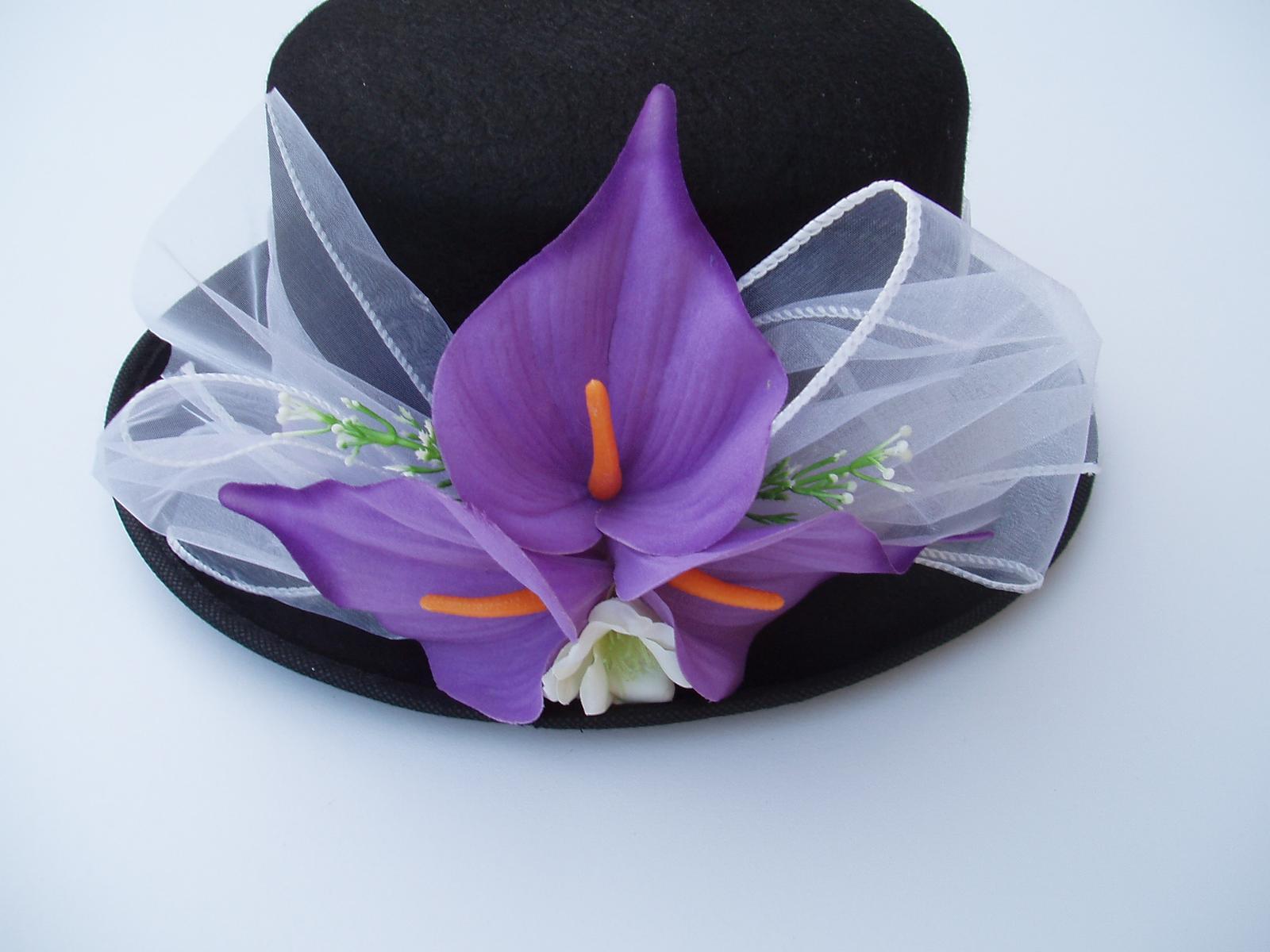 Svatební dekorace - Cylindr kaly-lila