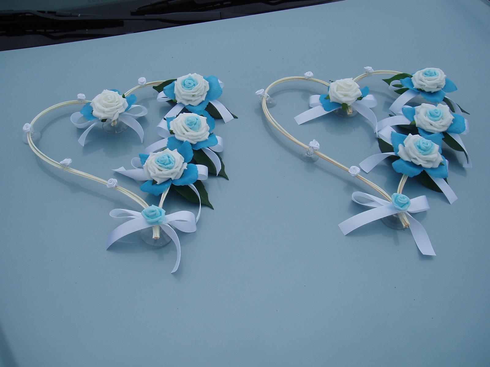 Svatební dekorace - srdce z pedigu-tyrkysová