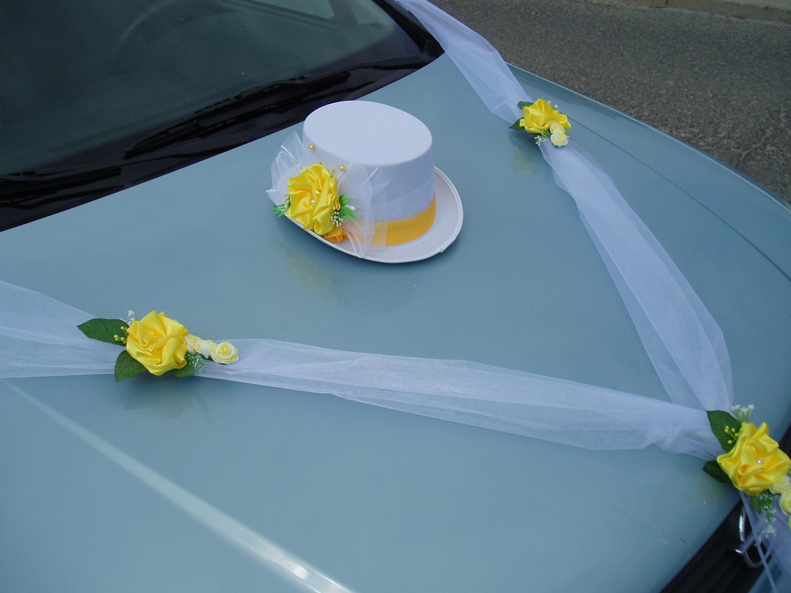 Svatební dekorace - šerpa s cylindrem-žlutá