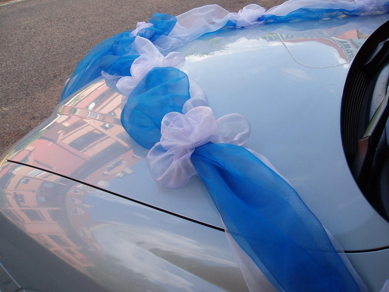 Svatební dekorace - šerpa modro-bílá