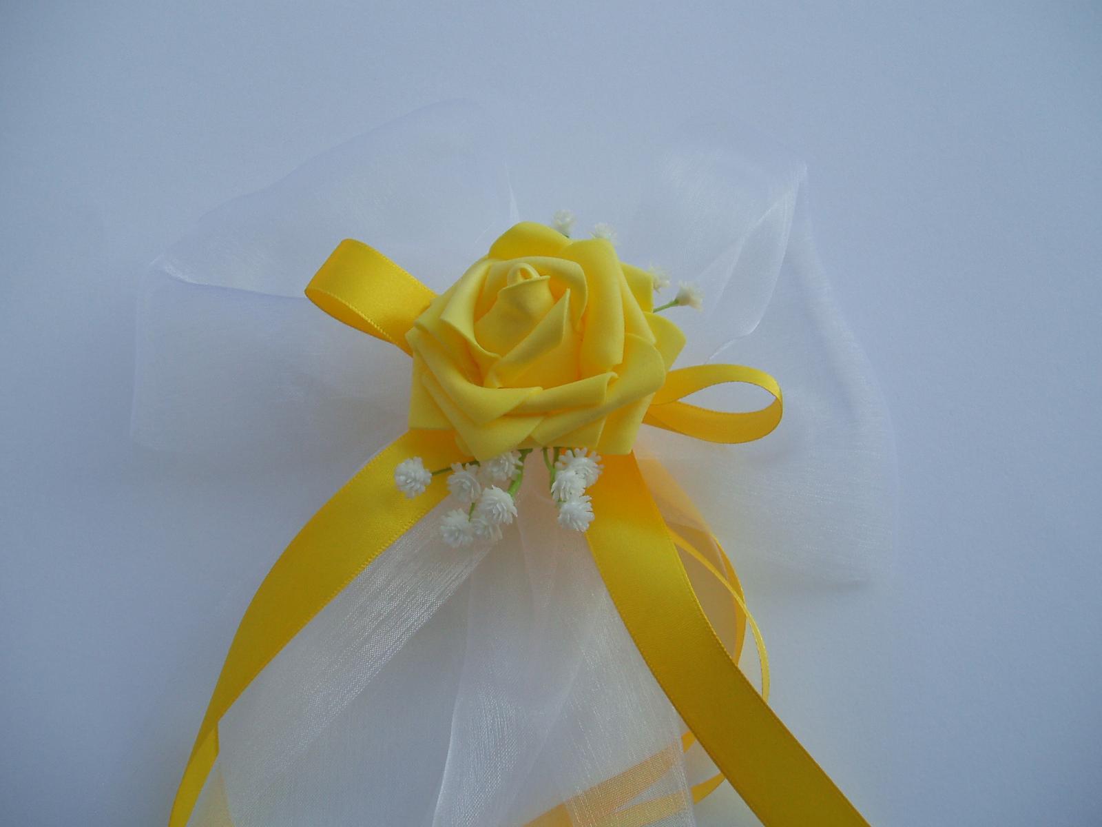 Svatební dekorace - mašle na zrcátka-žlutá