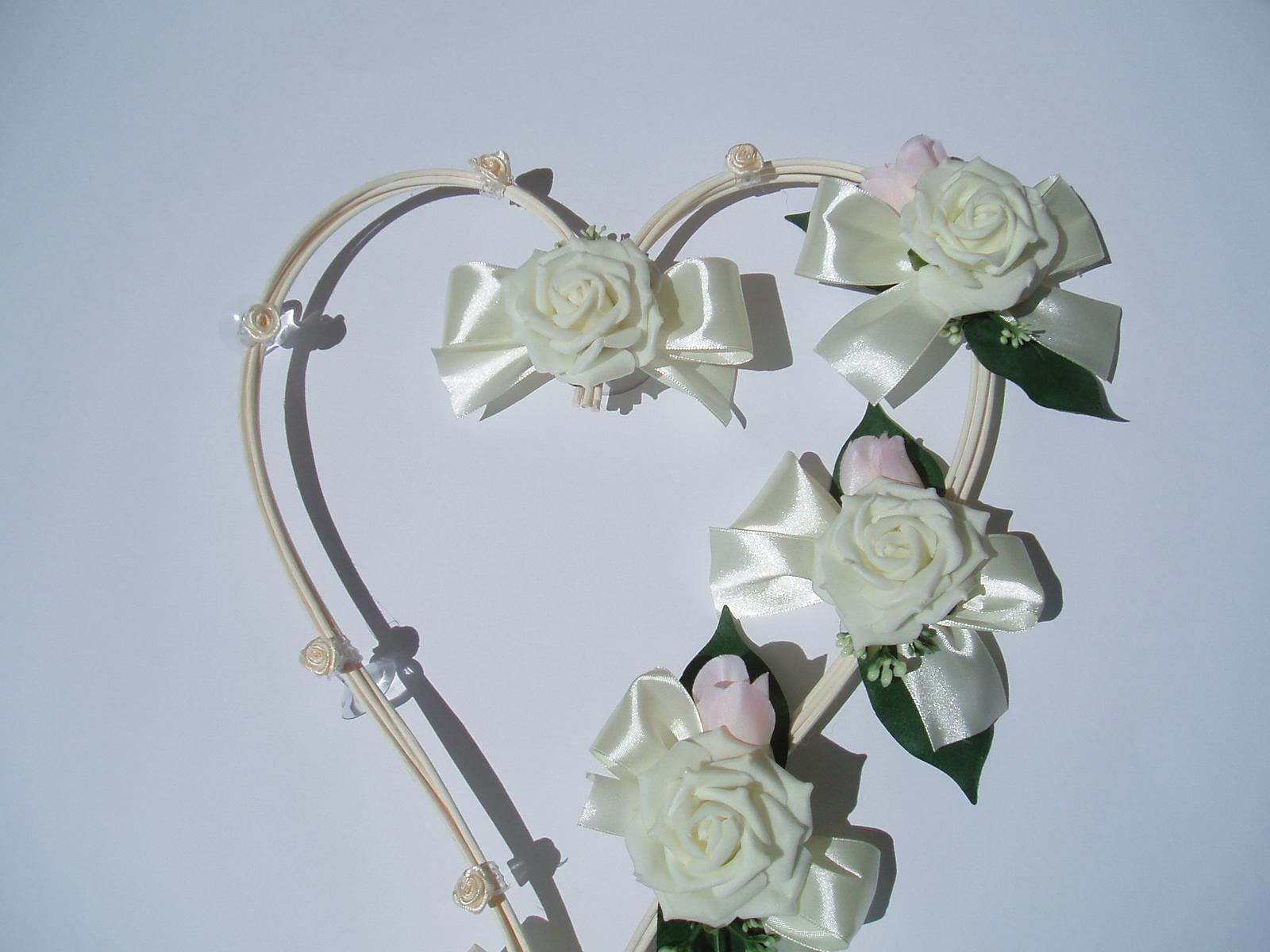 Svatební dekorace - srdce z pedigu-bílá