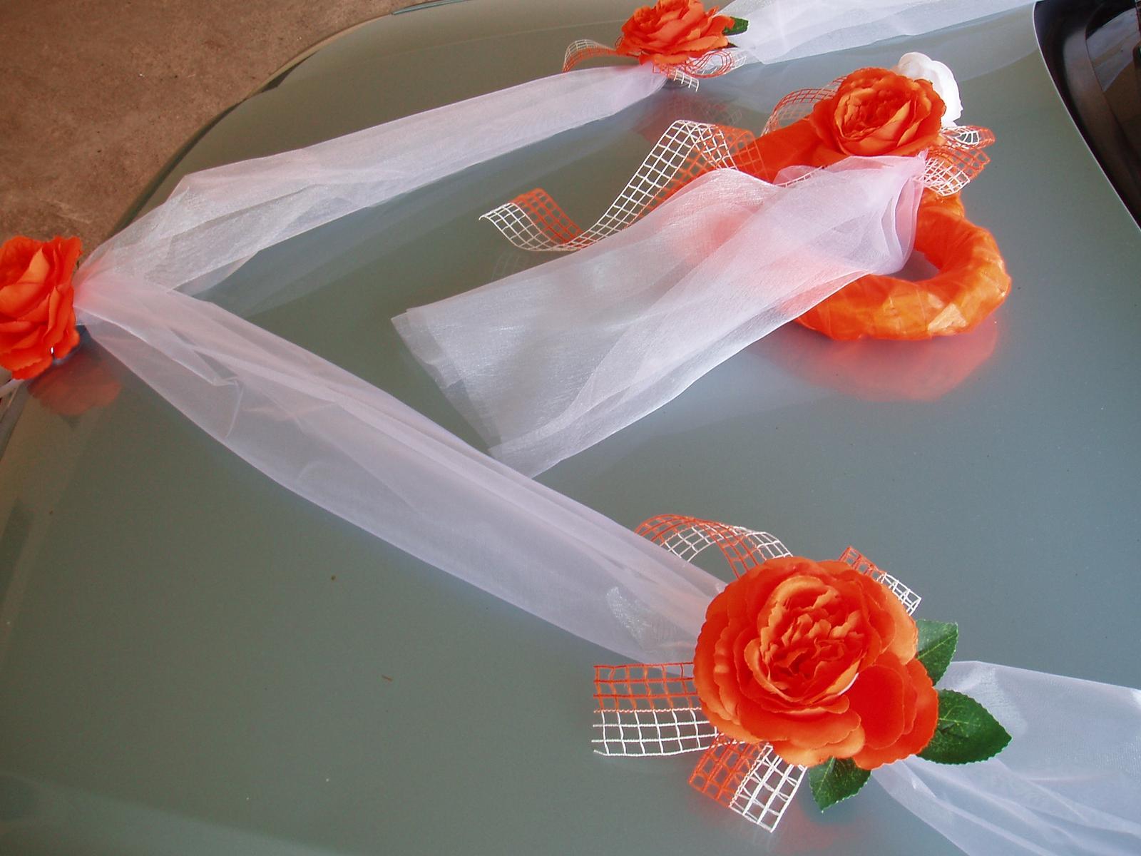 Svatební dekorace - šerpa a srdce-oranžová