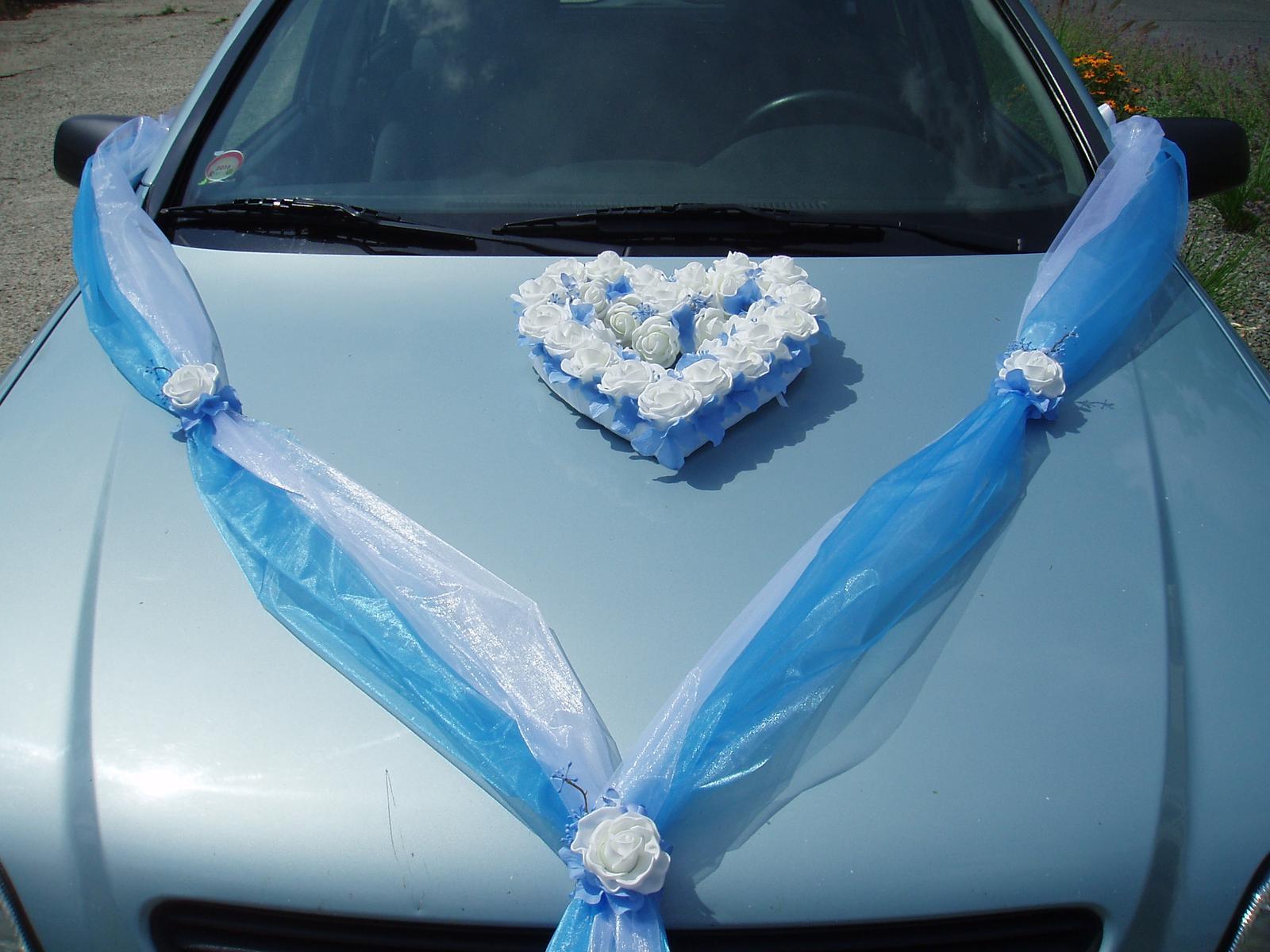 Svatební dekorace - šerpa a srdce-modrá
