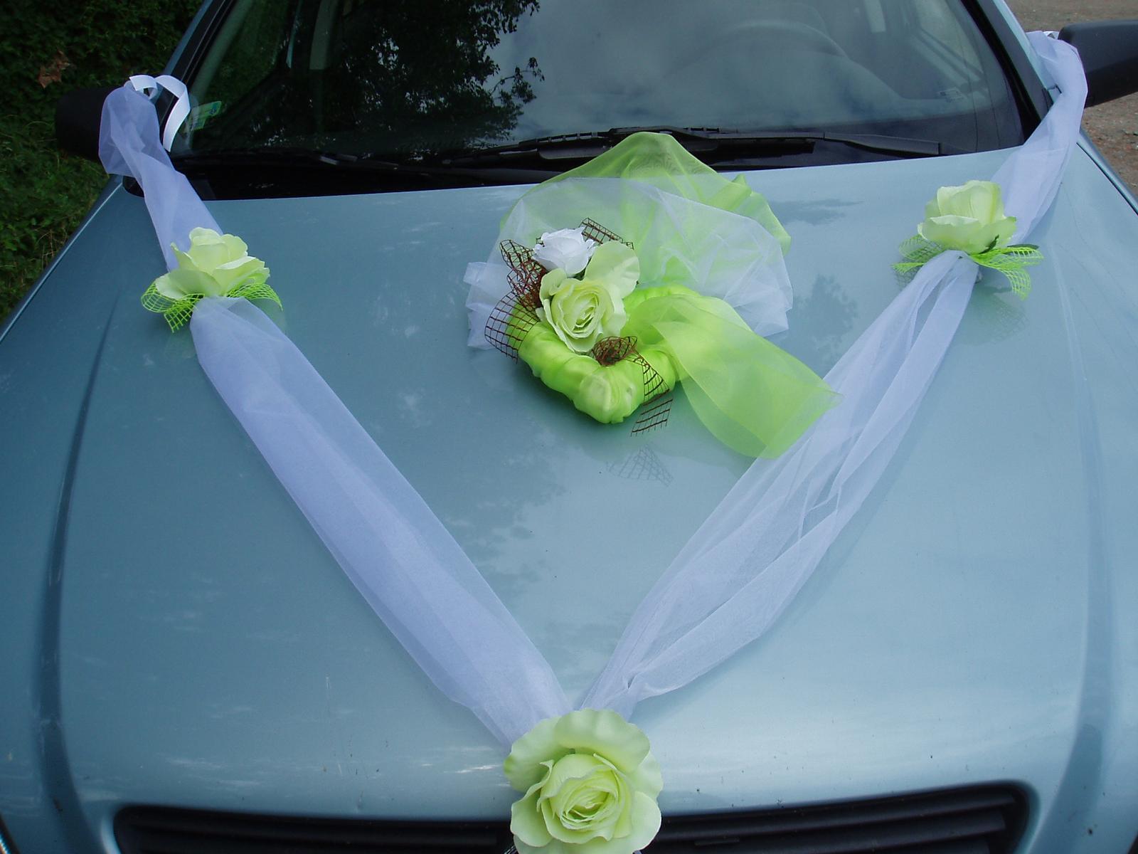 Svatební dekorace - šerpa a srdce-zelená
