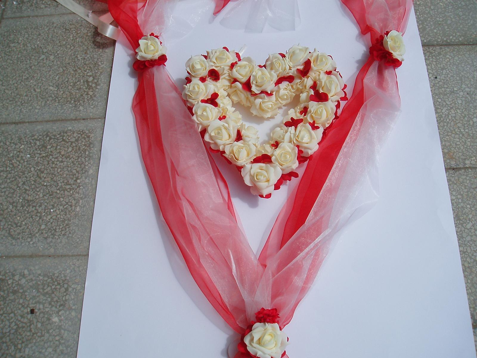 Svatební dekorace - šerpa srdce-smetanová s červenou