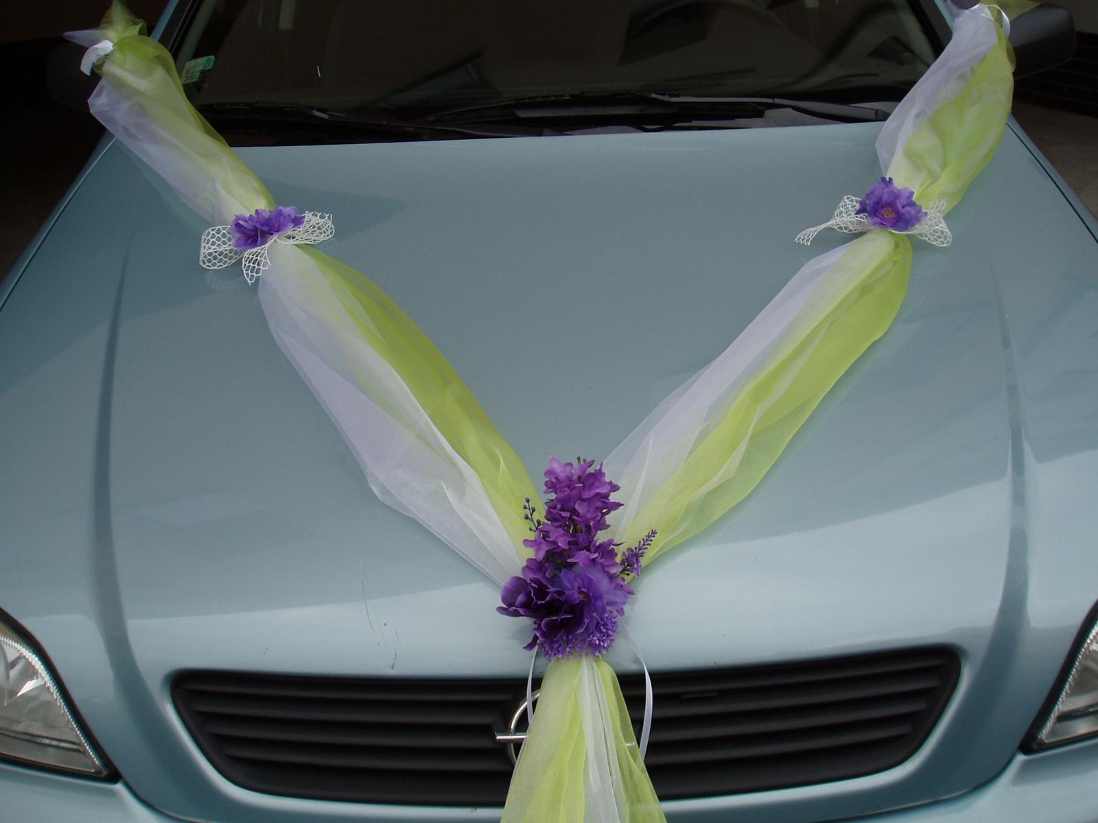 Svatební dekorace - zeleno-fialová šerpa
