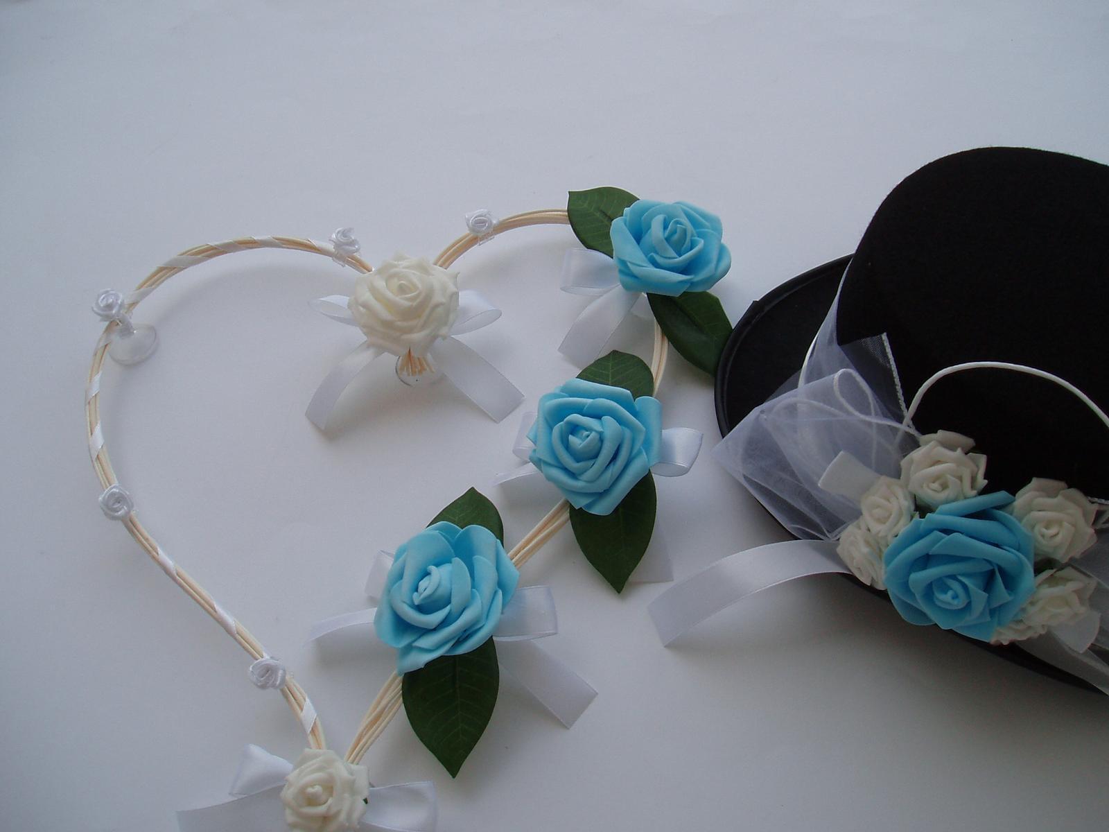 Svatební dekorace - srdce z pedigu tyrkysové