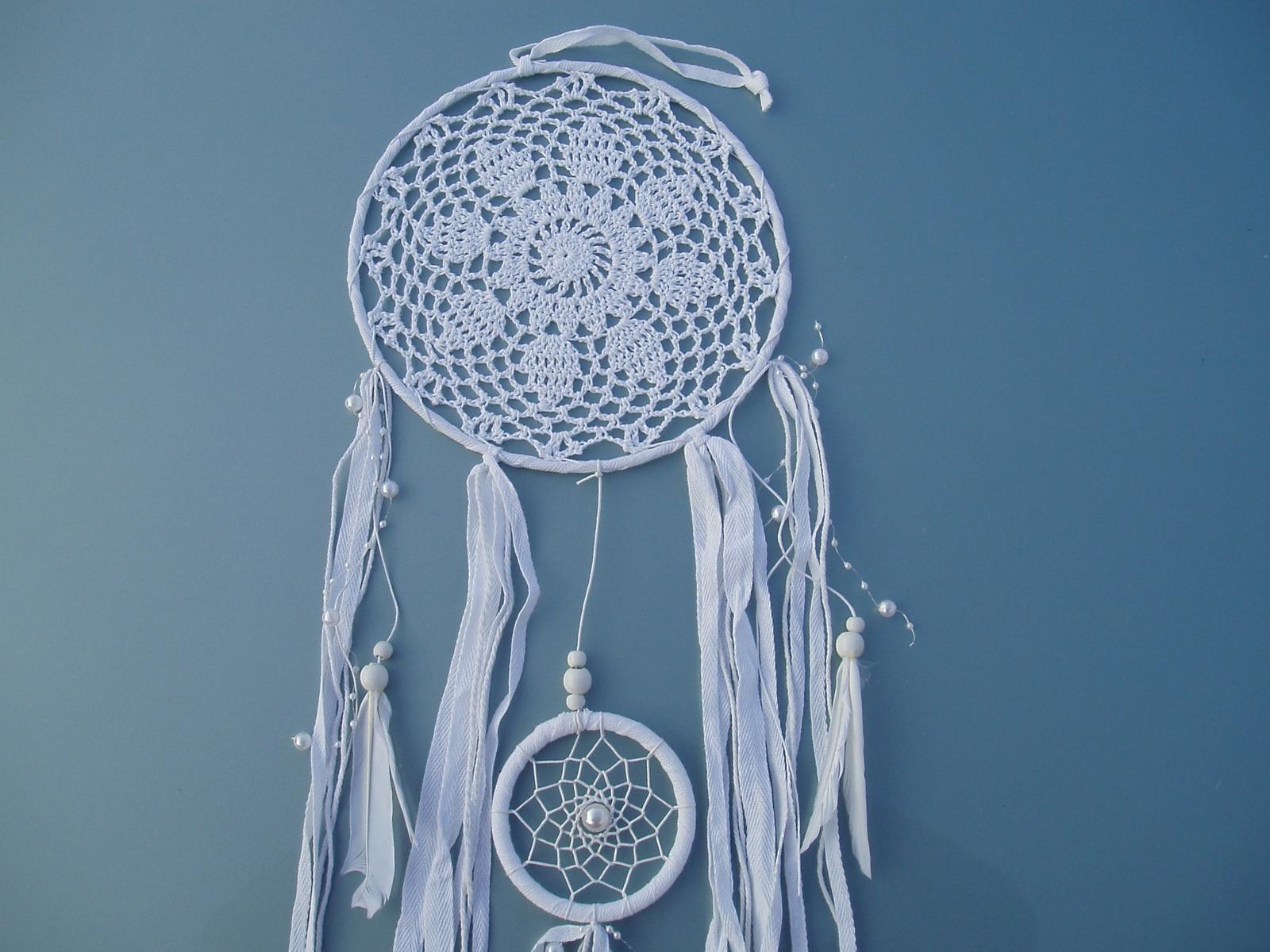 Svatební dekorace - Lapač snů bílý
