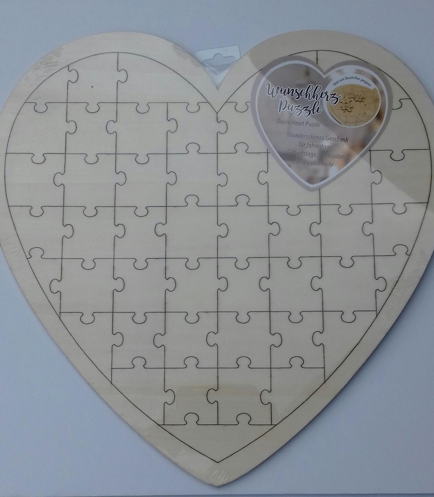 Svatební dekorace - Dřevěné srdce-puzzle na vzkazy nebo podpisy