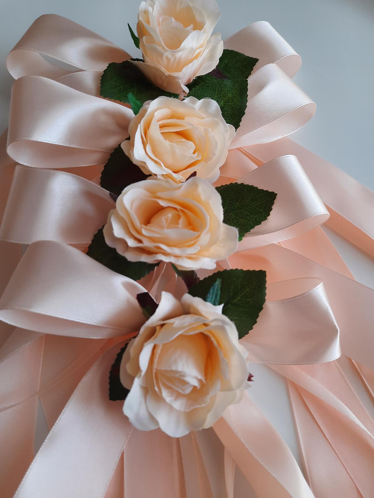 Svatební dekorace - mašle na zrcátka-lososová