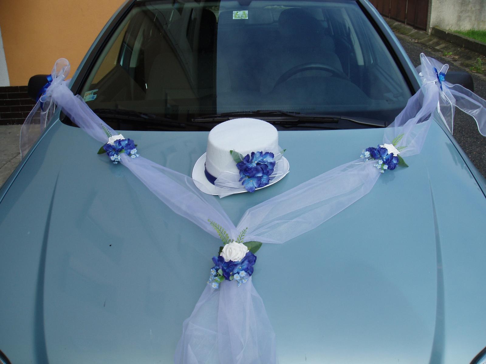 svatební set na auto-modrý - Obrázek č. 1