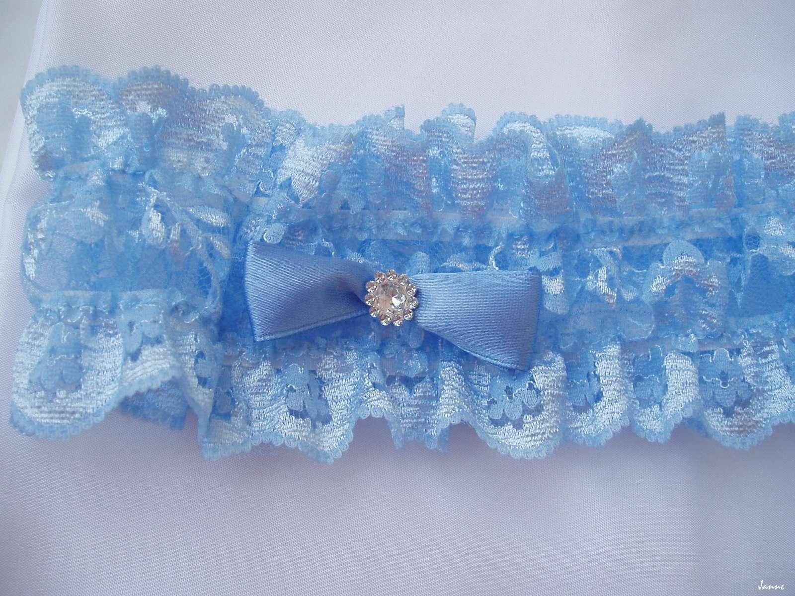 modrý podvazek mašlička+kamínek - Obrázek č. 1