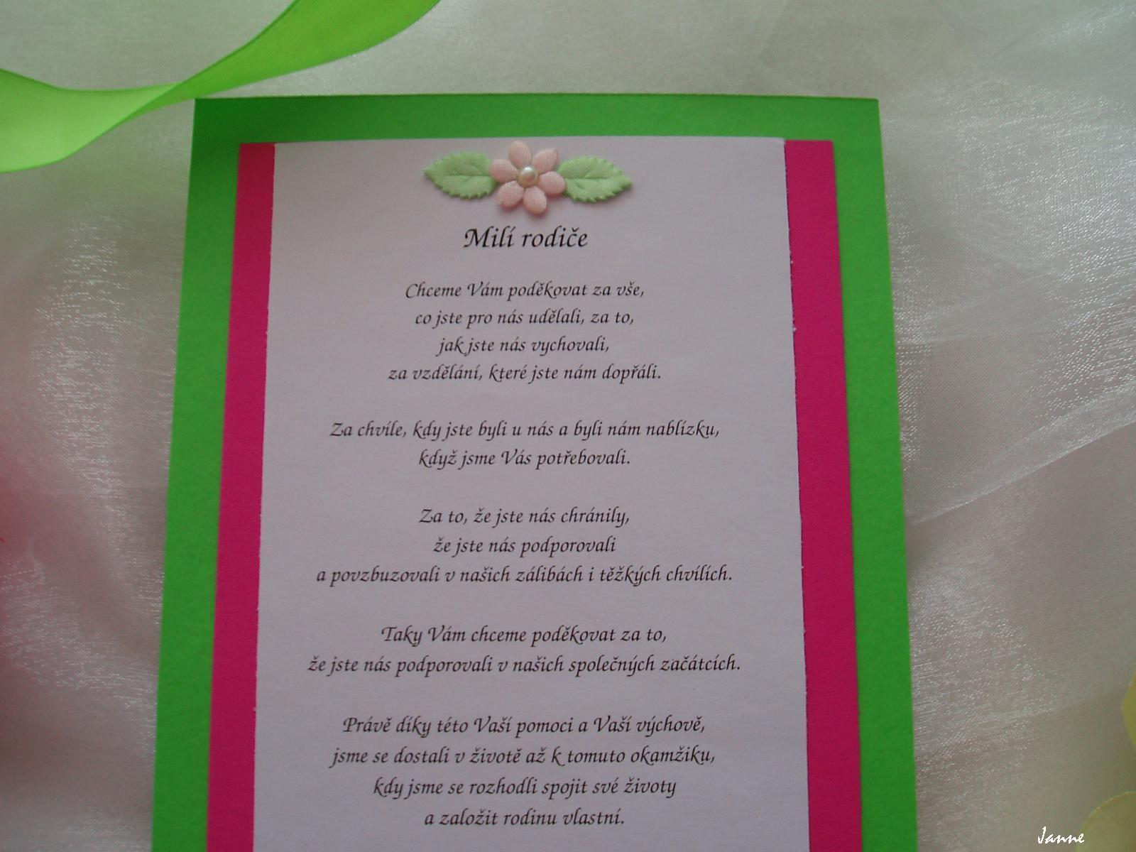 poděkování rodičům-zeleno-růžové - Obrázek č. 1
