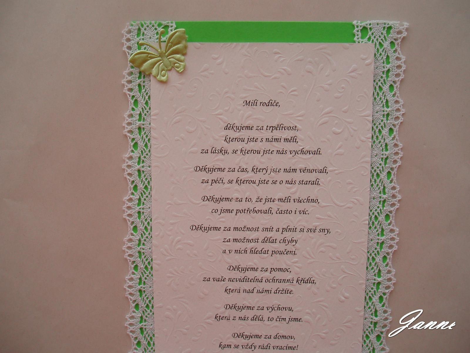 poděkování rodičům-zelené+krajka a motýlci - Obrázek č. 1