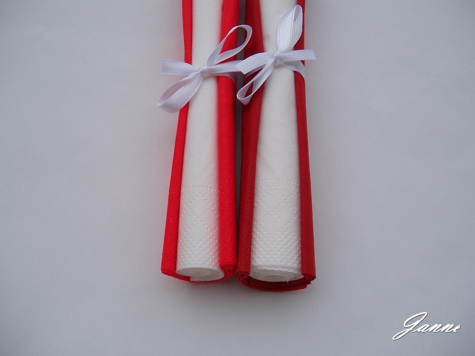 ubrousky červené-bílé - Obrázek č. 1
