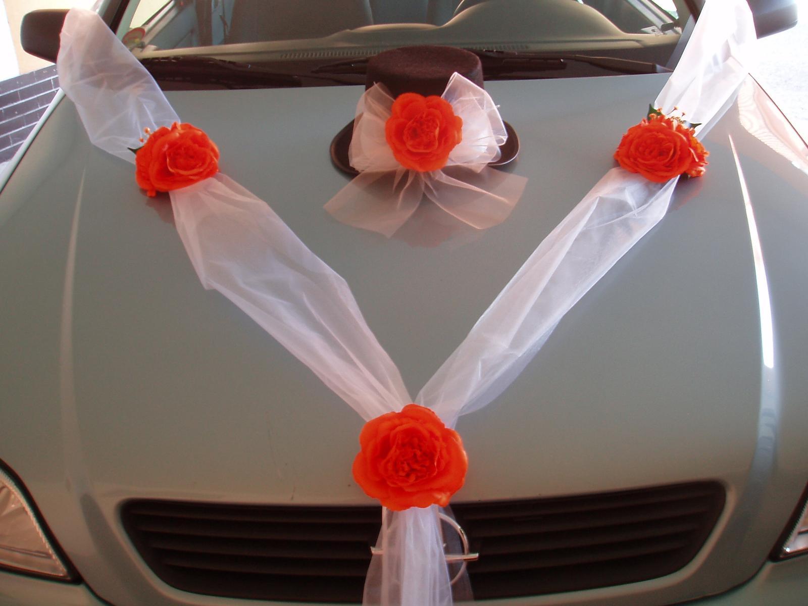 svatební set na auto-oranžový - Obrázek č. 1