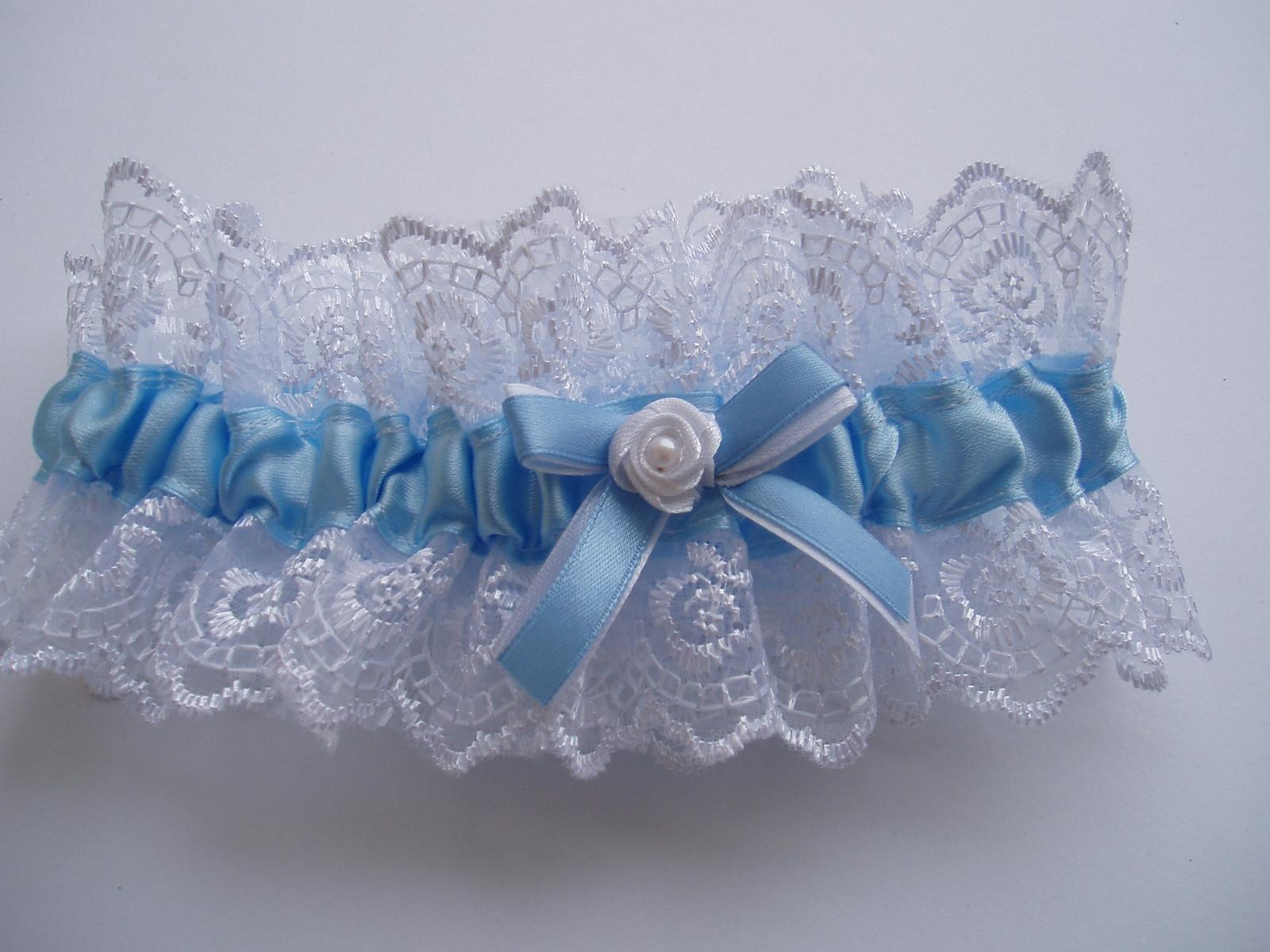modro-bílý podvazek - Obrázek č. 1
