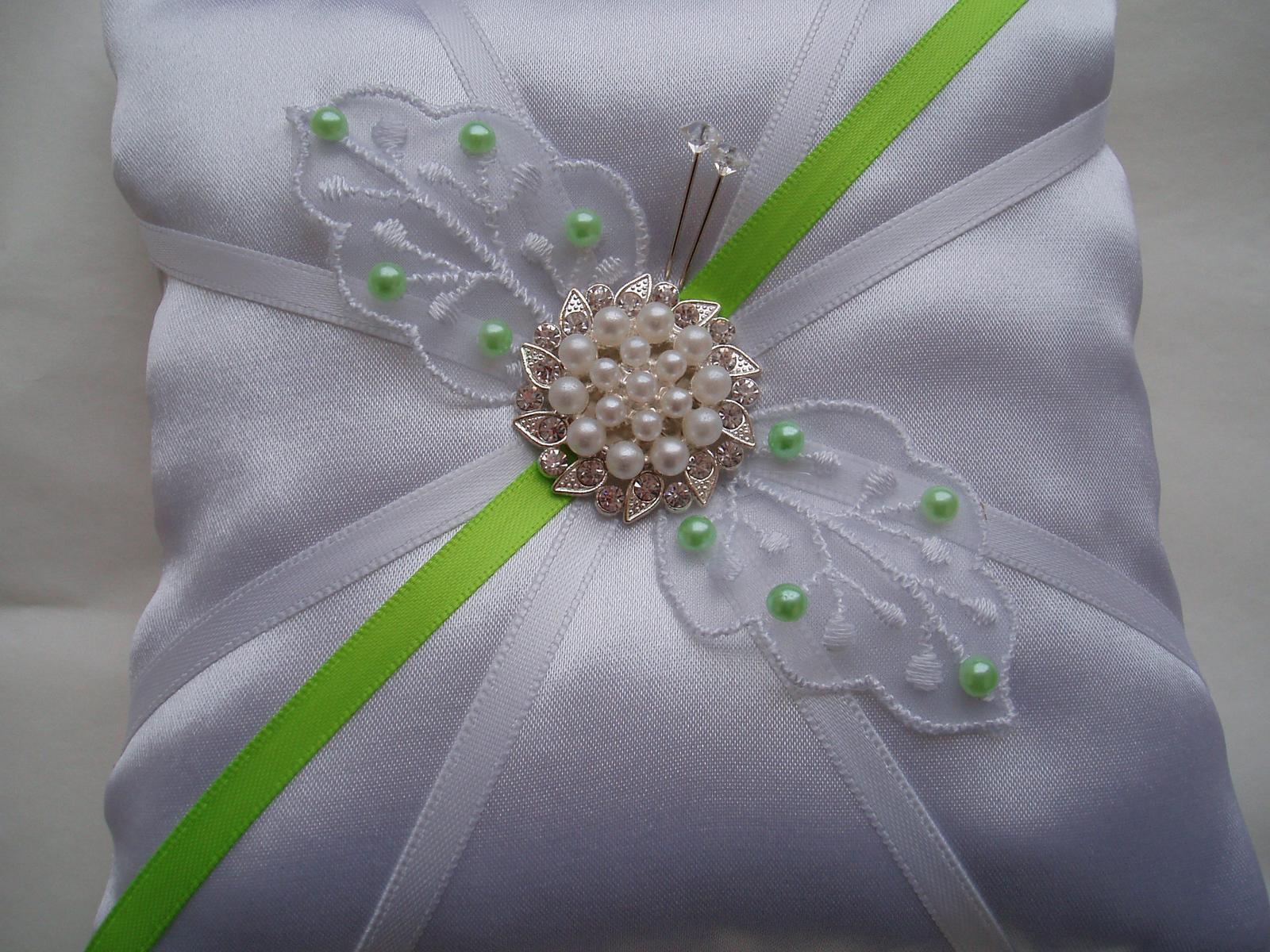 polštářek pod prstýnky-zelená svatba - Obrázek č. 1