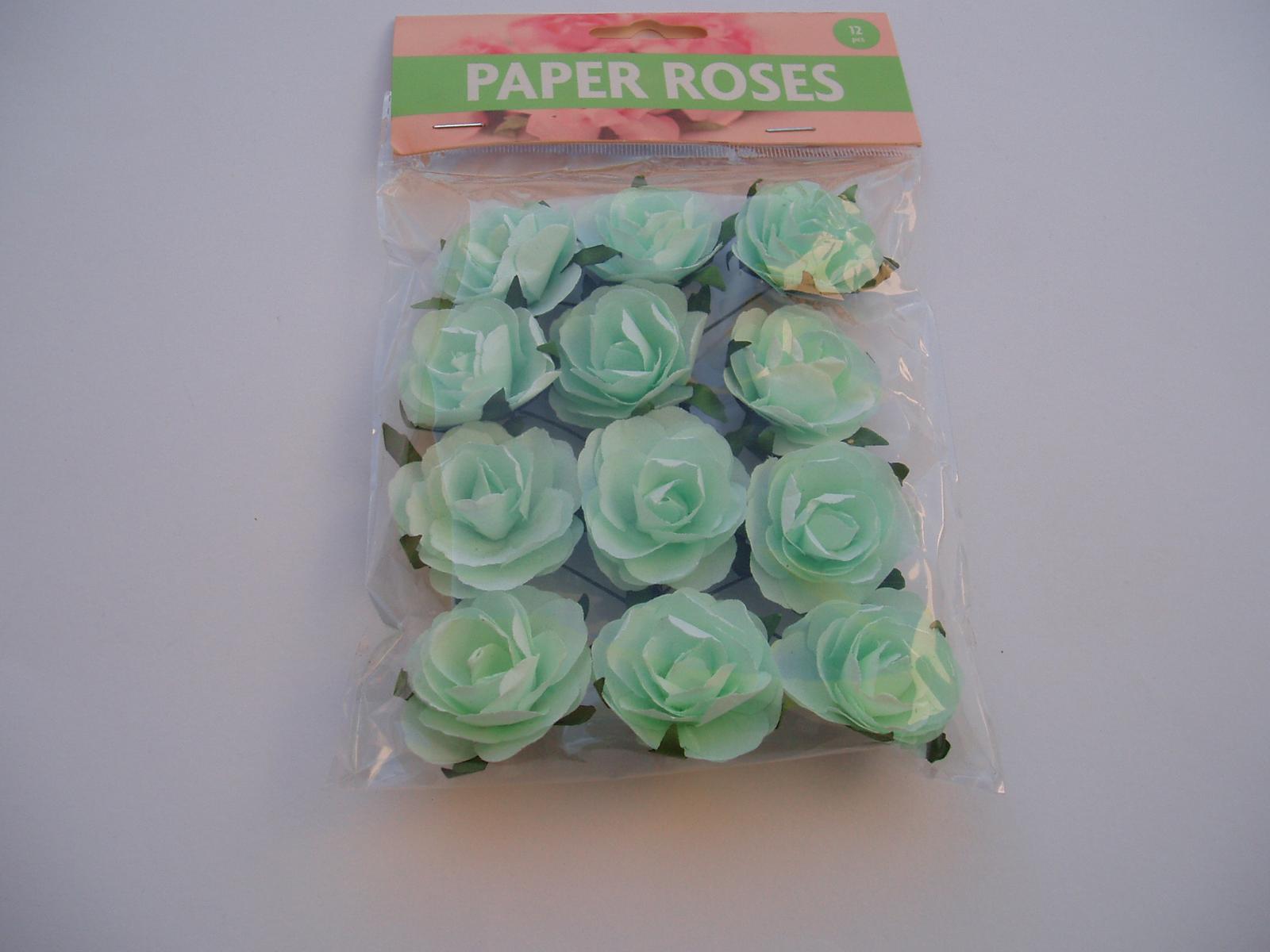 papírové růže-mentolové - Obrázek č. 1