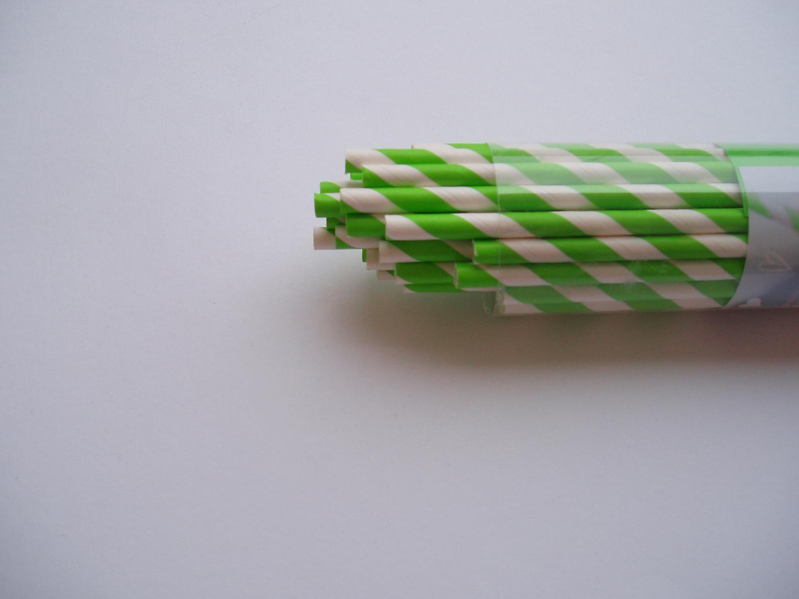 papírová brčka-zelená 40 ks - Obrázek č. 1