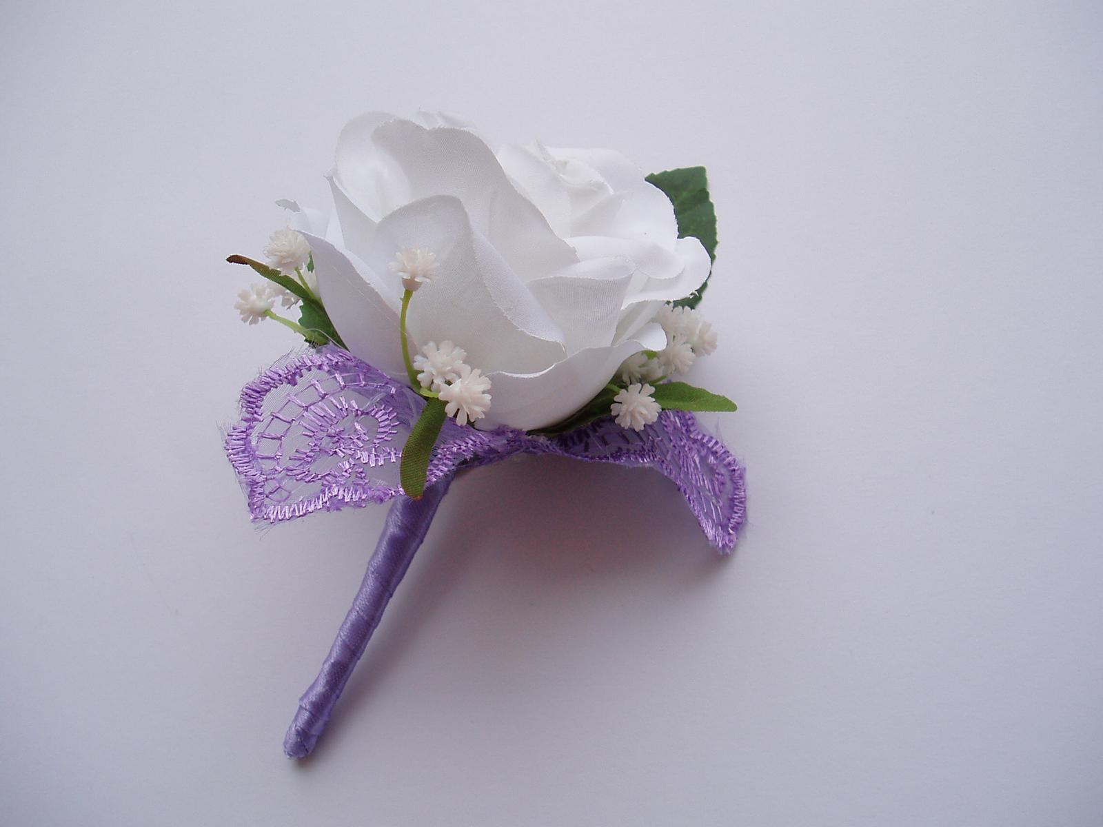 korsáž pro ženicha - bílá růže - Obrázek č. 2