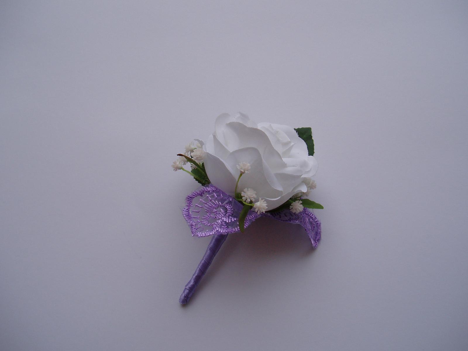 korsáž pro ženicha - bílá růže - Obrázek č. 3