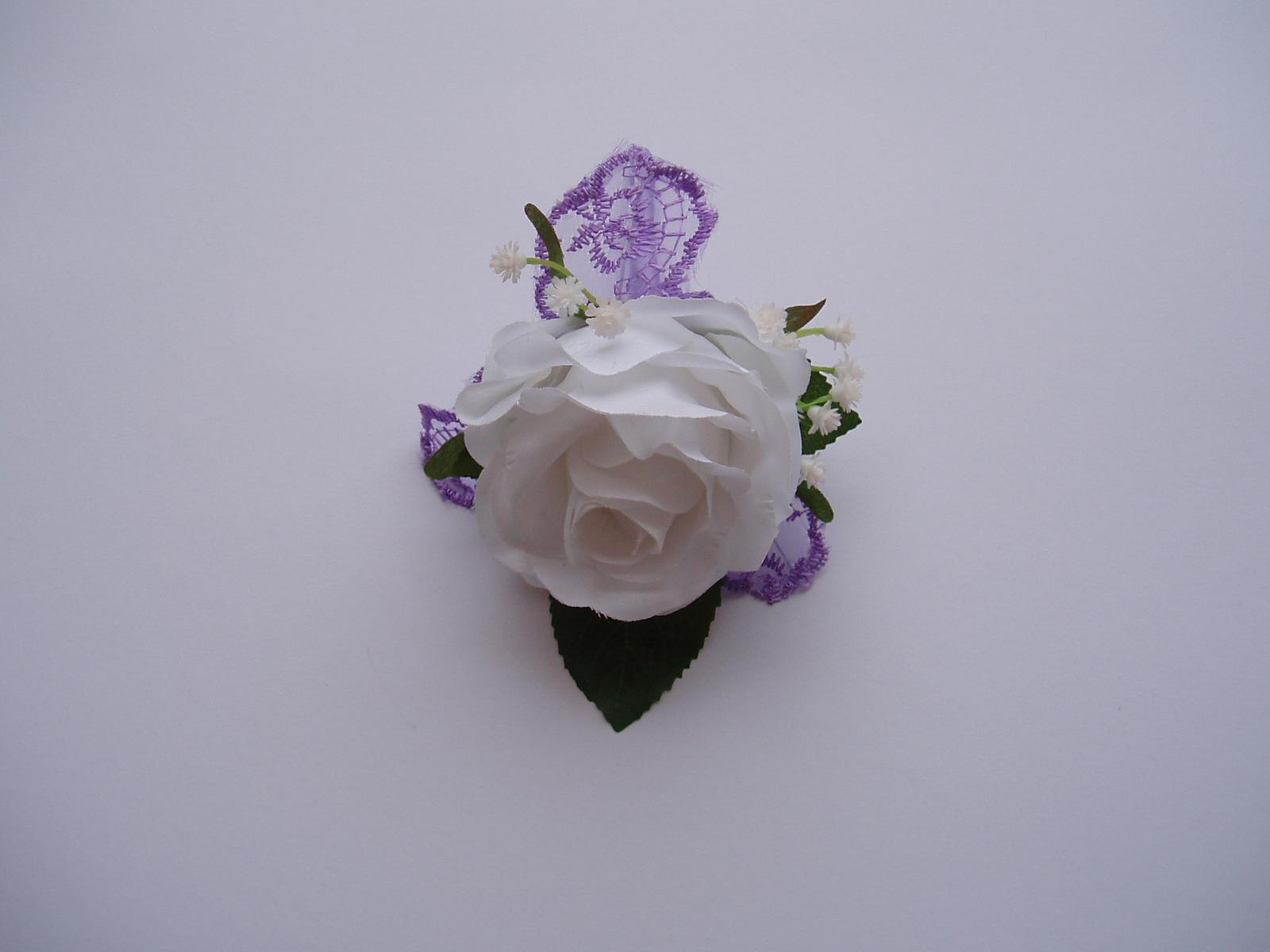korsáž pro ženicha - bílá růže - Obrázek č. 4