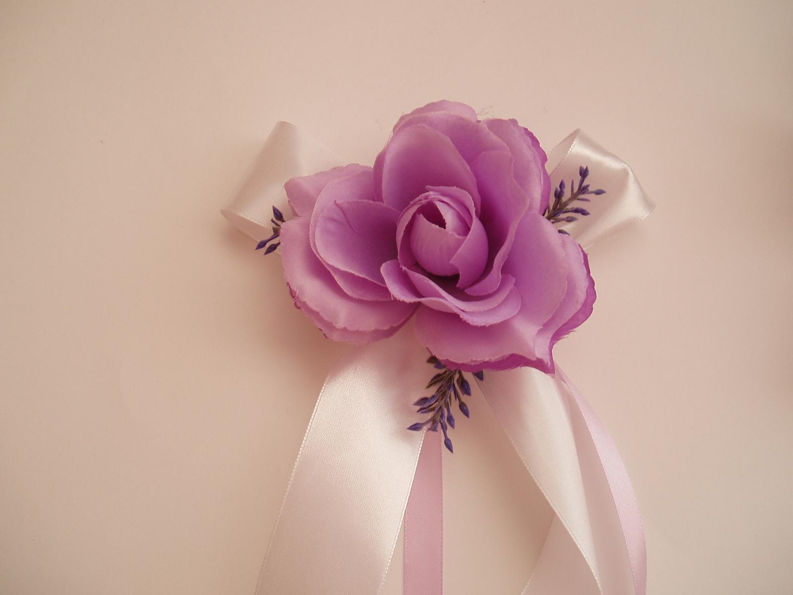 mašle na zrcátka-růže s levandulí - Obrázek č. 1