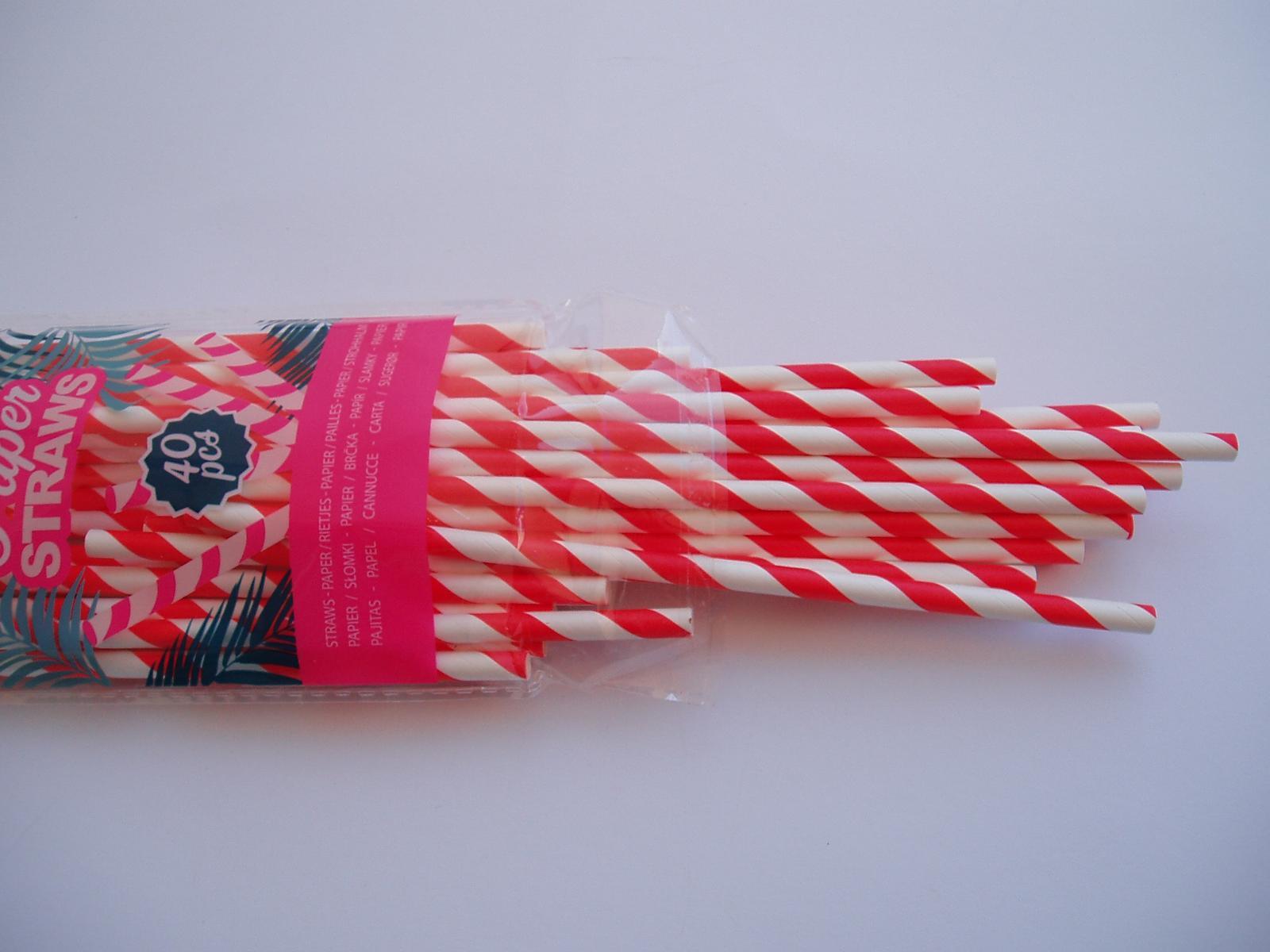papírová brčka-červená - Obrázek č. 1
