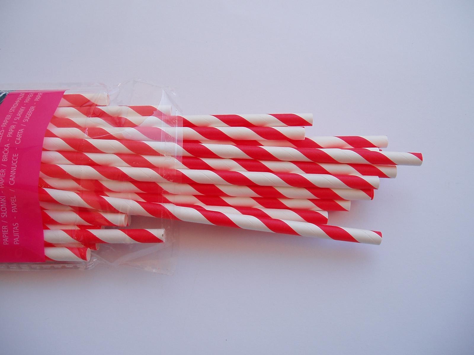 papírová brčka-červená - Obrázek č. 2