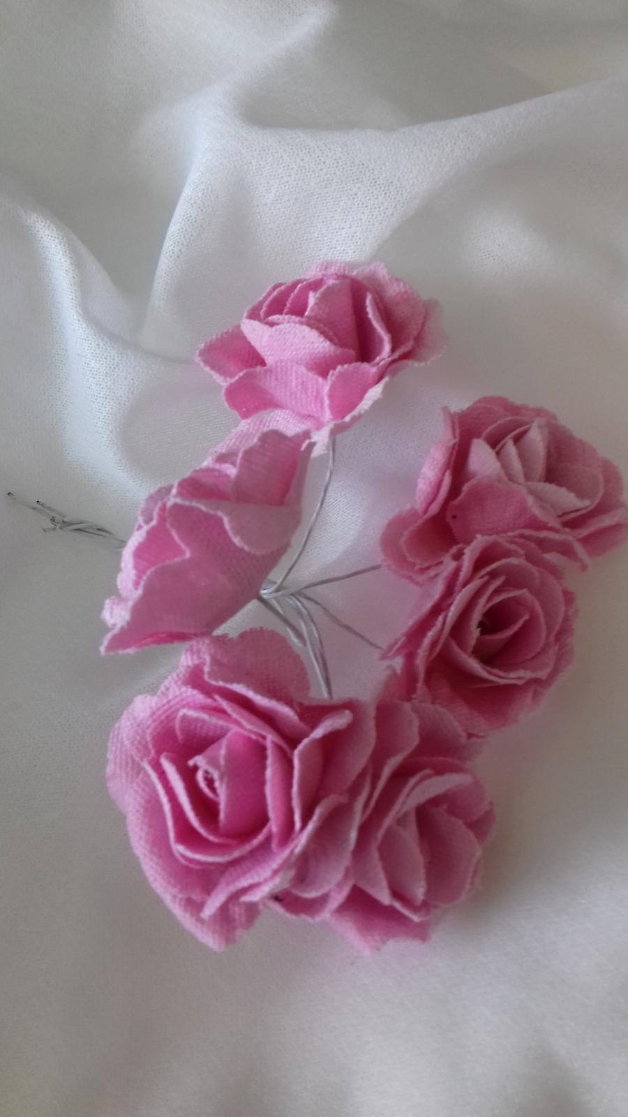 látkové kytičky růžové  - Obrázek č. 1