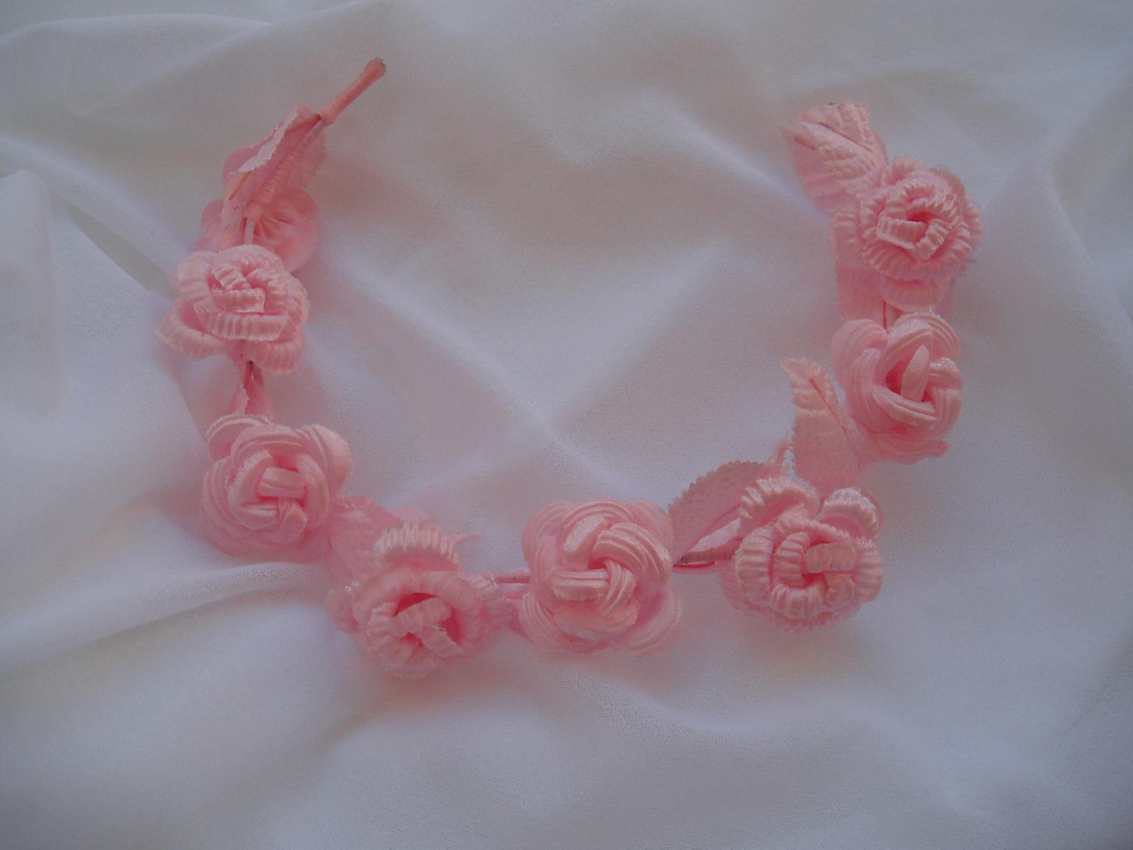 věneček do vlasů-růžový - Obrázek č. 1