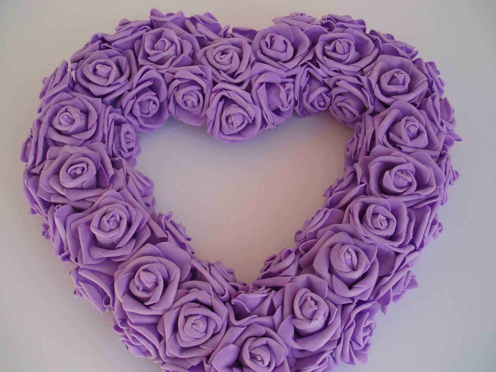 srdce z pěnových růží-fialové - Obrázek č. 3