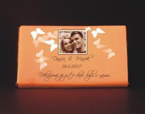 Objednané čokoládky, konečně je jasné, že svatba bude motýlová a oranžová. Doplňuji pro případné zájemce: www.miadesign.cz