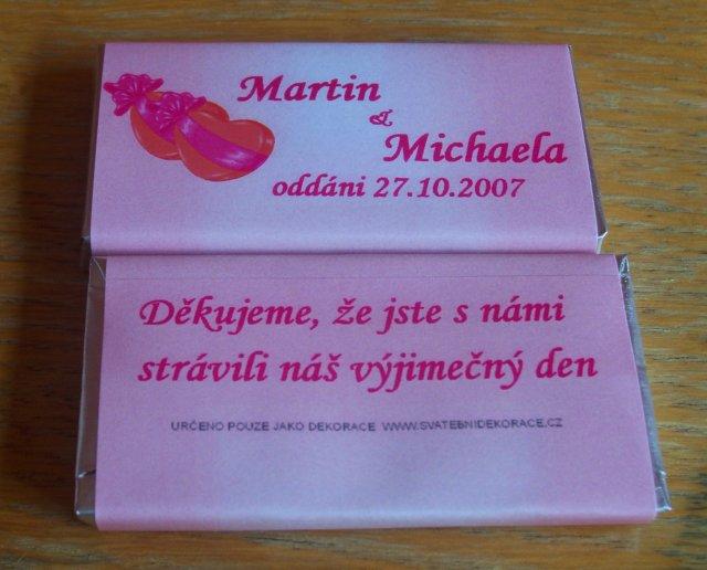 27.10.2007 M+M - Čokoládky jako poděkovaní hostům