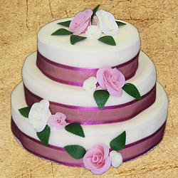 Už se to začíná rýsovat - Nakonec vyhrál medovník - nejdokonalejší dort na světě - bude stejný, jen stuha a růže budou modré :-)