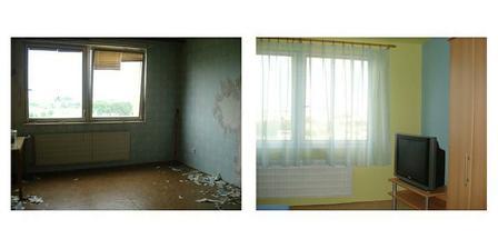 modro žltá spálňa pred a po