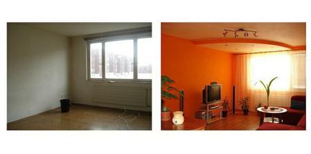 Pred a po obyvačka - tu sme ešte nemali nábytok :)