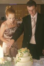 a to už prezlečení krájame svadobnú tortu...