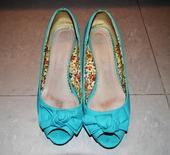 Tyrkysové topánky s otvorenou špicou, 38