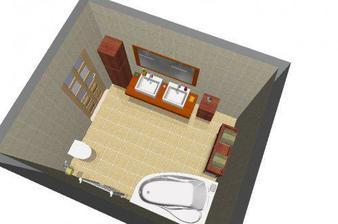 rozmístění horní koupelny - jen jiné obklady, asi to bude Asie od Rako