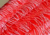 Organza s penovým vzorom - 39cm / 5m - červená,