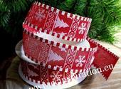Jutová vianočná stuha s drôtom 4cm/9,1m - červená,