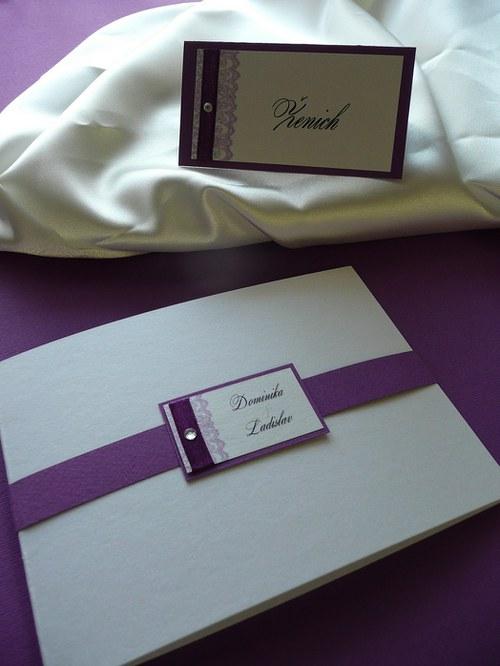 Lila mania - Svatební oznámení a jmenovky na svatební stůl - ruční práce