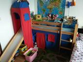 poschodova postel so smyklavkou + madrac + hrad,