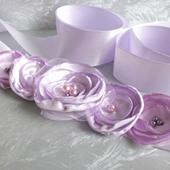 Saténový pásek lila, 38