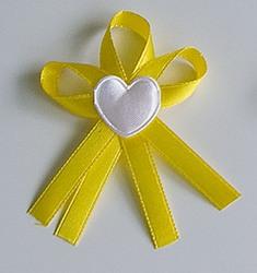 Žluté svatební vývazky se srdíčkem - Obrázek č. 1
